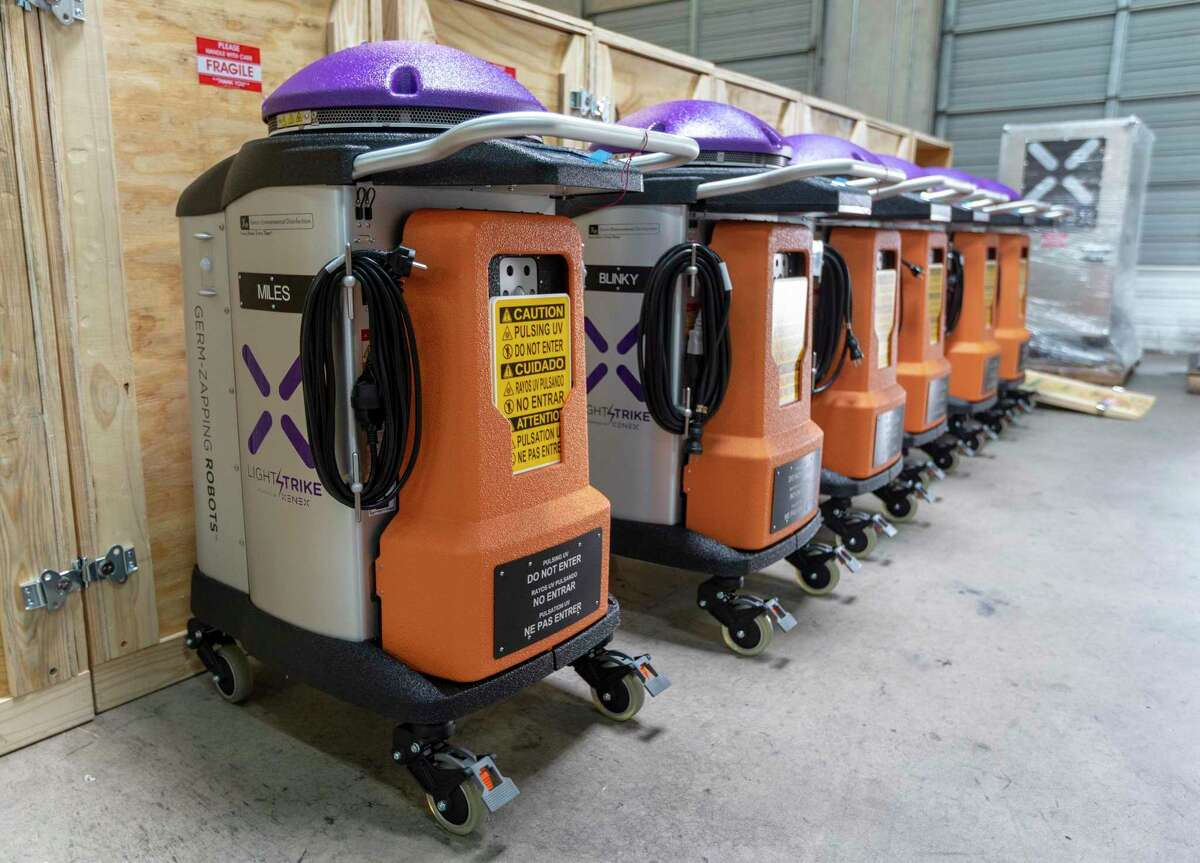 Xenex's LightStrike xenon-light-emitting disinfecting robots re seen Wednesday, Sept. 2, 2020 at the company's headquarters.