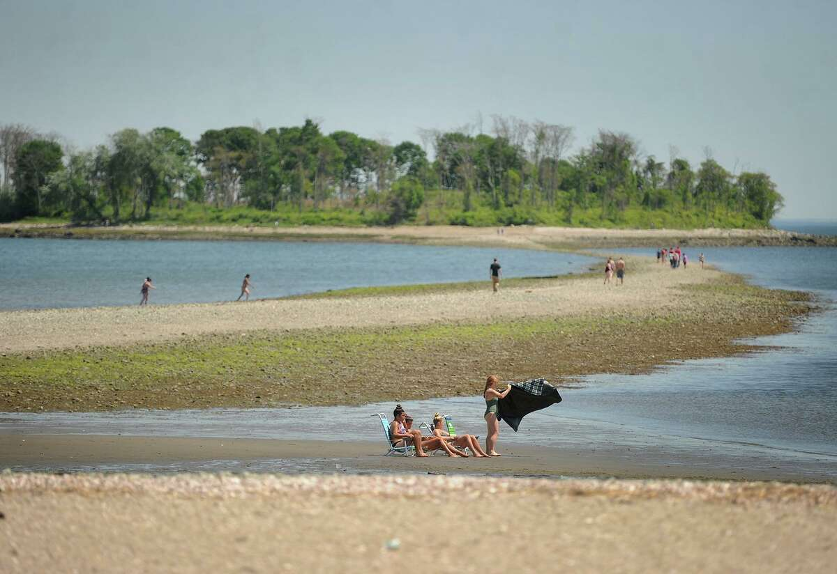 File photo of beachgoers at Silver Sands State Park in Milford, Conn., taken on May 24, 2018.
