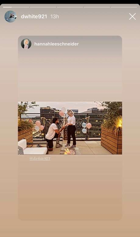 Spurs guard Derrick White proposed to his girlfriend Hannah Schneider on Sunday – and she said yes. Photo: Instagram Story: Dwhite921