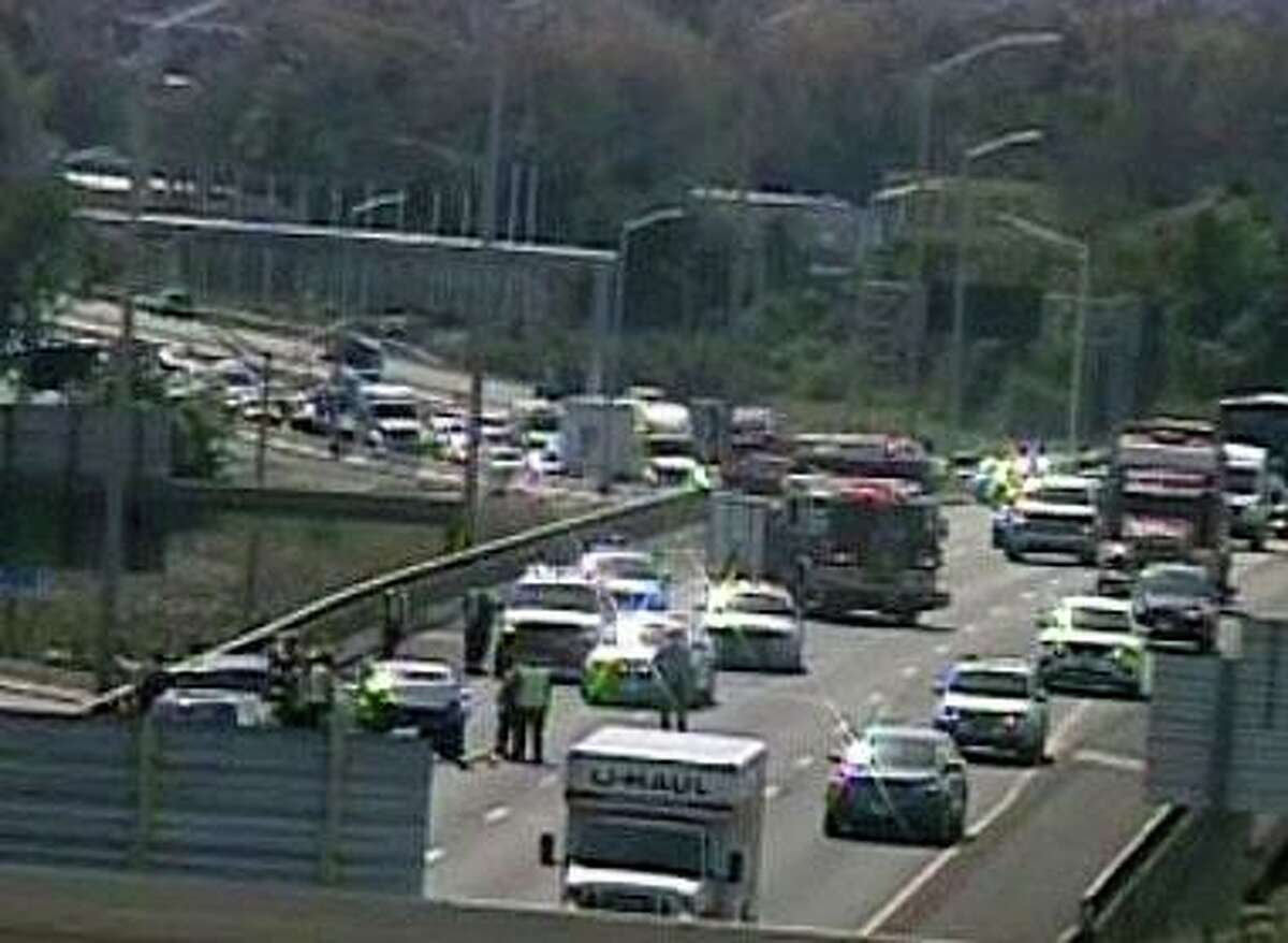 A screenshot from a CTDOT camera showing a crash on I-91 in Hartford, Conn., on Monday, Sept. 7, 2020.