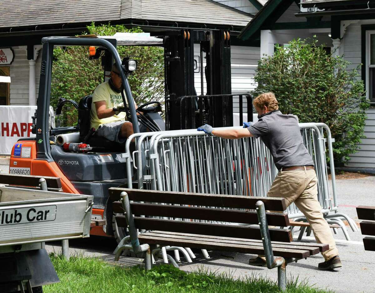 A NYRA crew collects portable barriers during the last day of the Spa racing season on Monday, September 7, 2020 at Saratoga Race Course in Saratoga Springs, N.Y. (Mike Kane/Special to the Times Union)