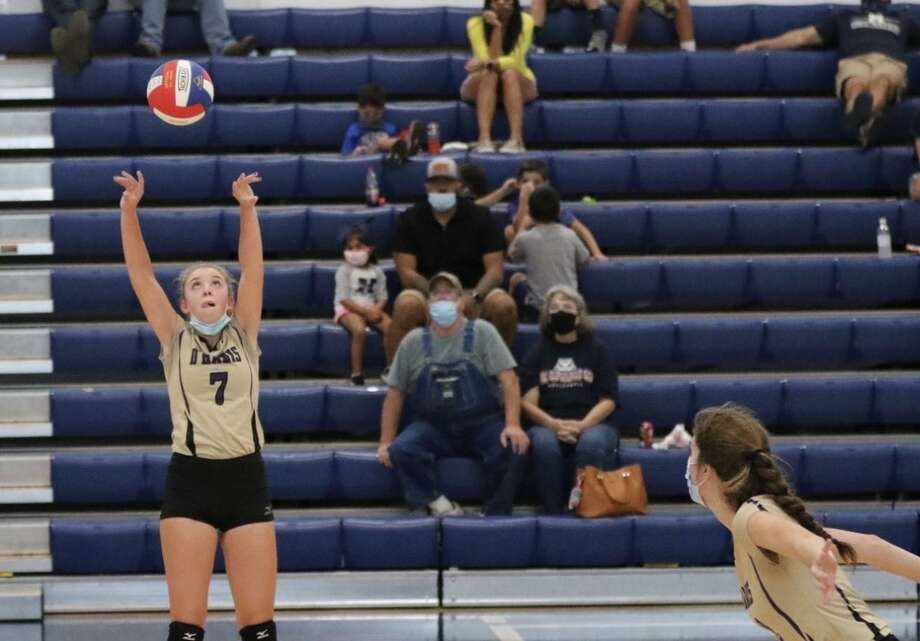 D'Hanis sophomore Jolie Frosch sets the ball during a recent match during the 2020 season. Photo: Courtesy Mark Lemons