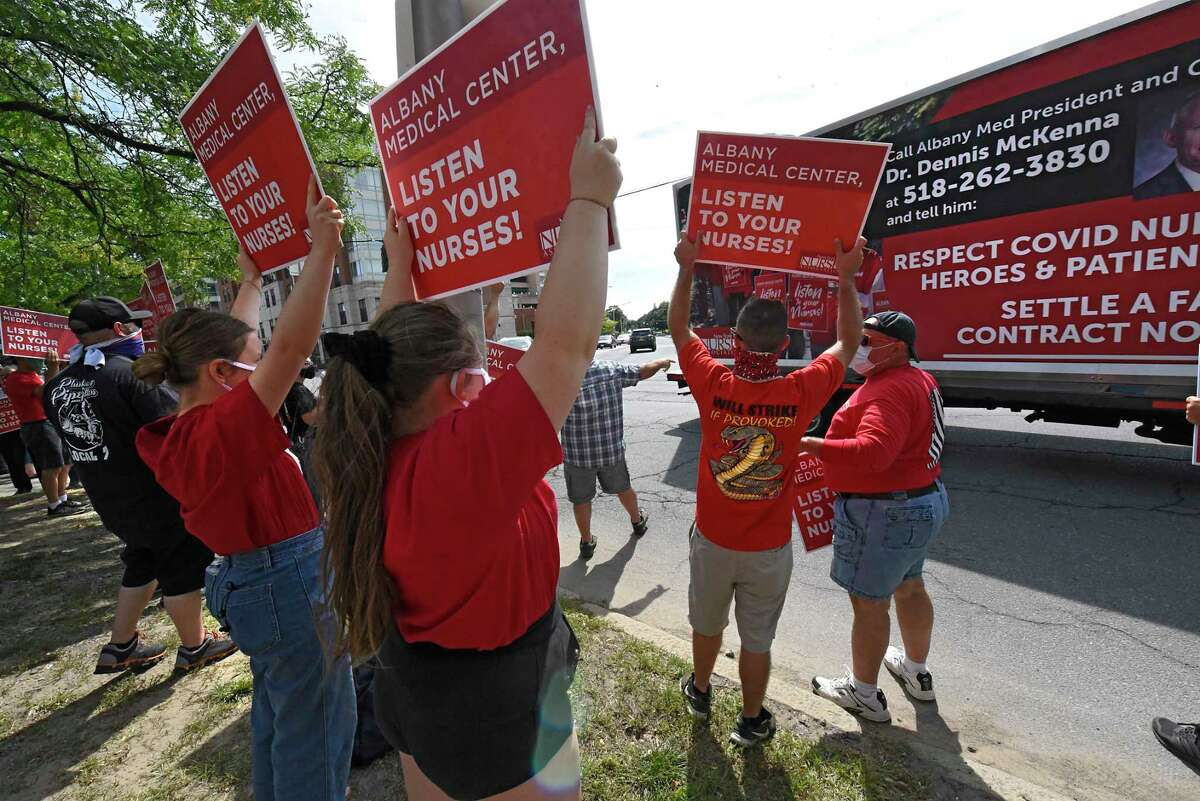 Supporters of New York State Nurses Association rally in front of Albany Medical Center to help nurses fight for a fair contract on Monday, Sept. 7, 2020 in Albany, N.Y (Lori Van Buren/Times Union)