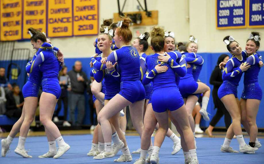 Newtown Cheer competes in the SWC cheer championships at Newtown High School on Feb. 7, 2020 in Newtown, Connecticut. Photo: Matthew Brown / Hearst Connecticut Media / Stamford Advocate