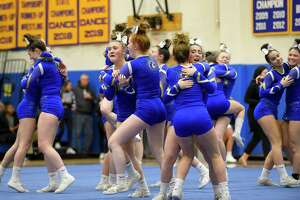 Newtown Cheer competes in the SWC cheer championships at Newtown High School on Feb. 7, 2020 in Newtown, Connecticut.