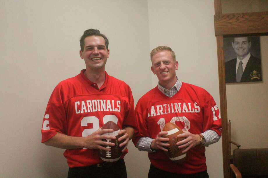 Tyler Schuberg (left) and Nick Scheible recalls special moments from 1998 football team. (Pioneer photo/John Raffel)