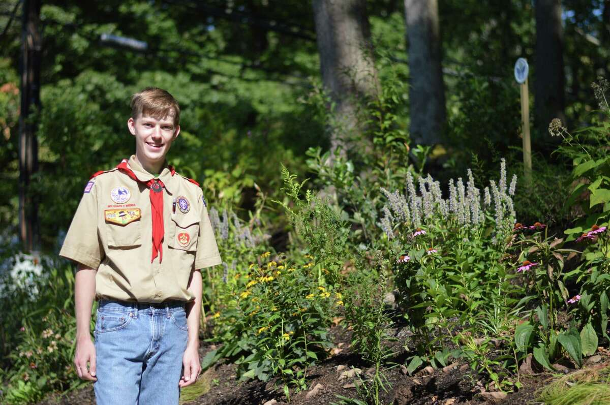 North Haven resident Sean Stetson established this pollinator garden at the Brethren in Hamden for his Eagle Scout project with the help of volunteers.