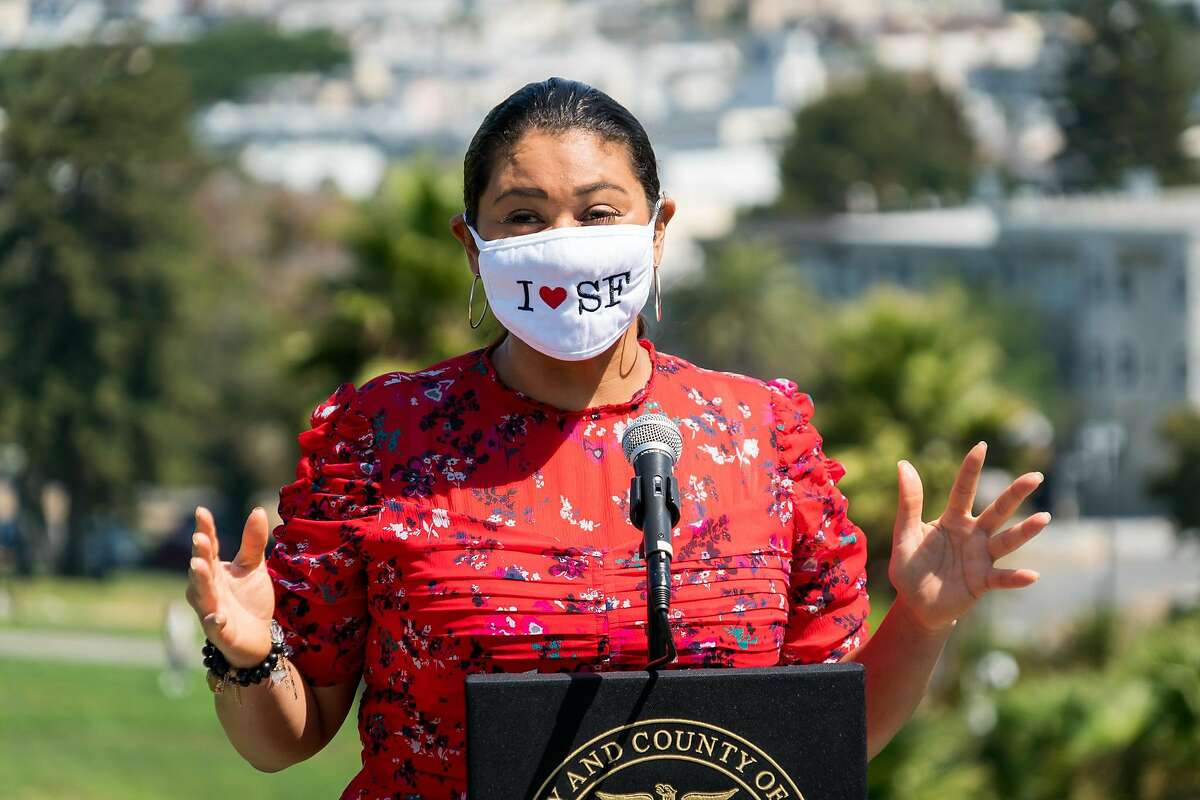 San Francisco Mayor London Breed speaks at a press conference at Dolores Park on Sept. 4, 2020. She then handed out masks with the Sisters of Perpetual Indulgence as part of the city??s COVID-19 Labor Day weekend campaign to cover your face. Breed was joined by District 8 Supervisor Rafael Mandelman, Recreation and Parks Department General Manager Phil Ginsburg, and Sister Roma of the Sisters of Perpetual Indulgence in Dolores Park. They were to distributed one thousand masks with the Sisters of Perpetual Indulgence.