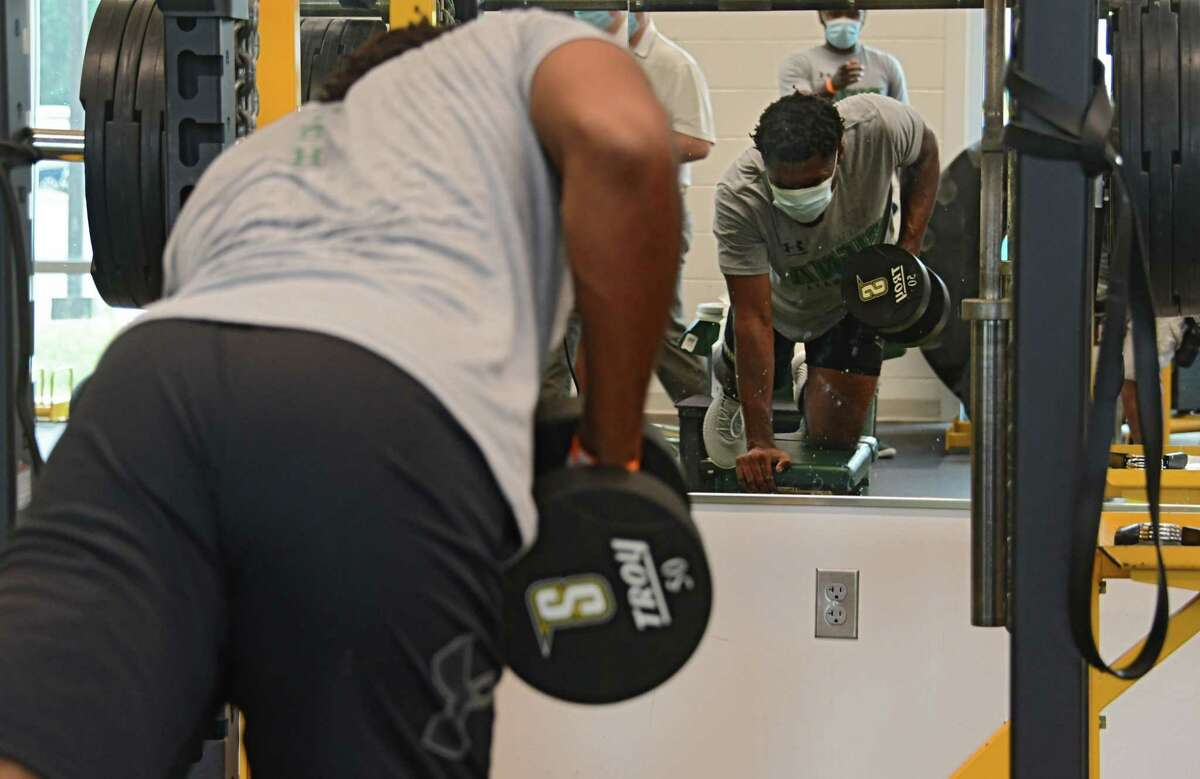 Siena basketball player Jalen Pickett works out in the Strength and Conditioning Suite at the Alumni Recreation Center at Siena College on Monday, Sept. 7, 2020 in Loudonville, N.Y. Siena?•s sports teams are allowed to have workouts supervised by coaches for the first time. (Lori Van Buren/Times Union)