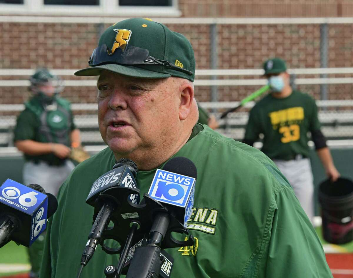Siena baseball head coach Tony Rossi answers questions from the media during a press conference at Connors Park at Siena College on Monday, Sept. 7, 2020 in Loudonville, N.Y. Siena?•s sports teams are allowed to have workouts supervised by coaches for the first time. (Lori Van Buren/Times Union)