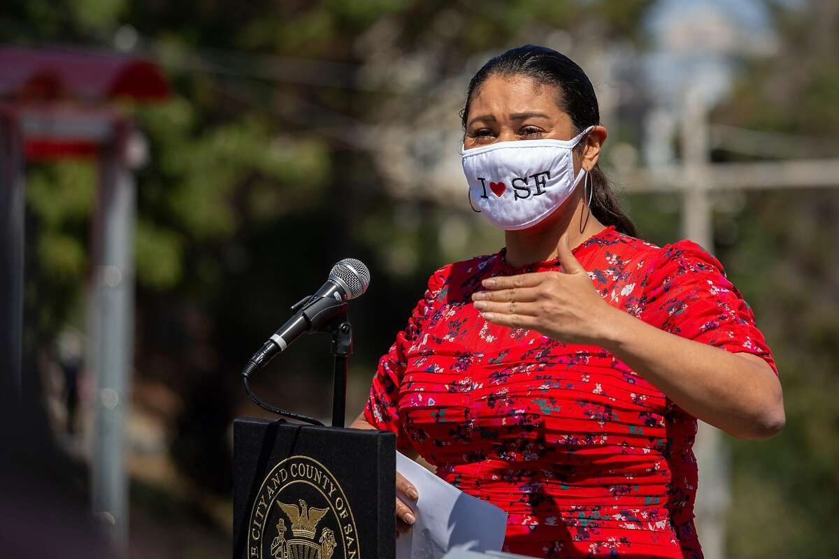 Mayor London Breed emphasized the importance of wearing a mask and avoiding crowds at a press conference at Dolores Park in San Francisco, Calif. on Sept. 4, 2020.