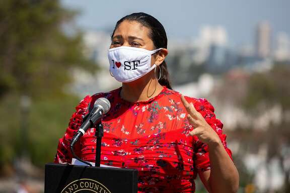 Mayor London Breed emphasized the importance of wearing a mask and avoiding crowds at a press conference at Dolores Park in San Francisco, Calif. on Sept. 4, 2020. The City parterned with the Sisters of Perpetual indulgence to distribute 1000 masks to prevent the spread of Covid 19 over Labor Day Weekend.