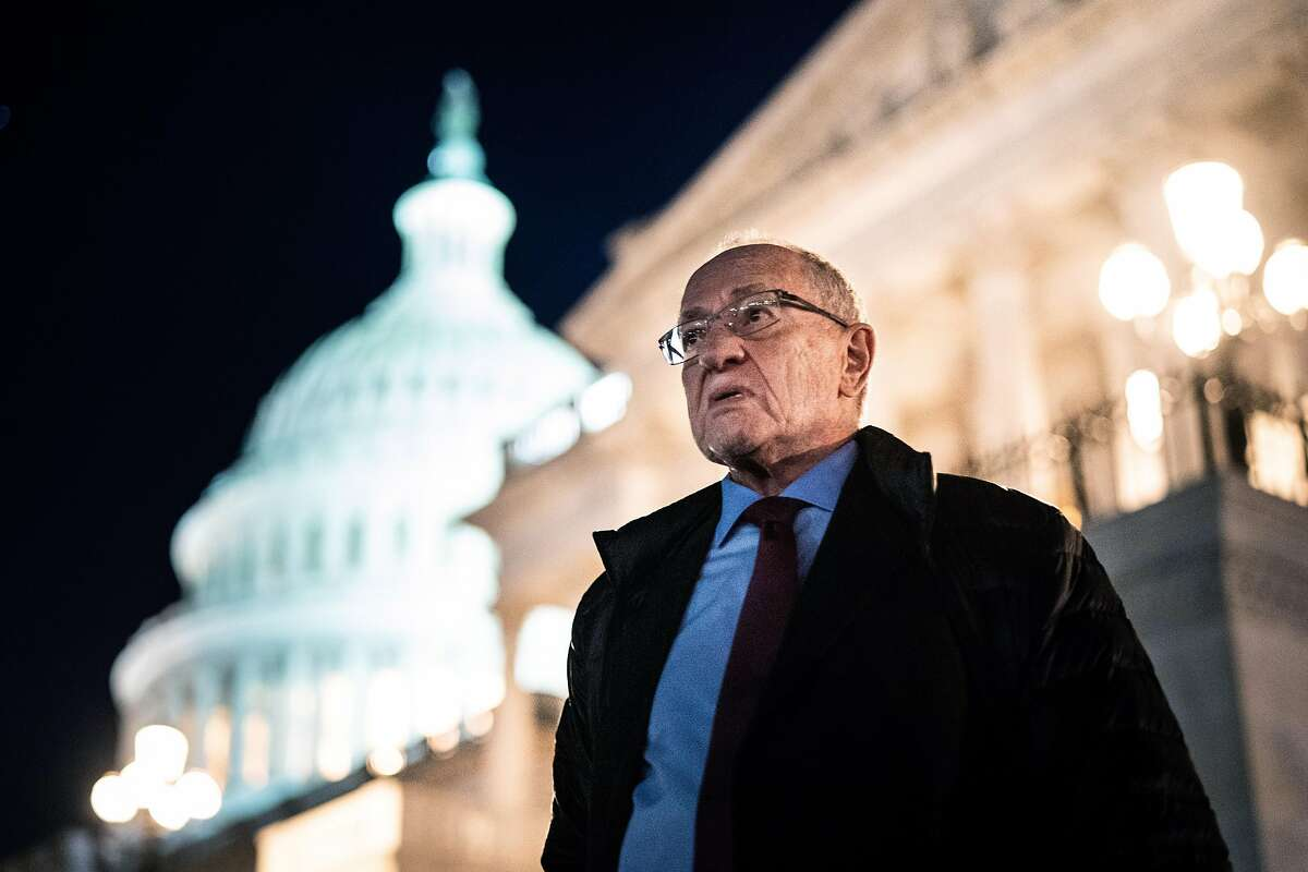 FILE -- The attorney Alan Dershowitz stands outside the Capitol in Washington after the end of the day's session of the Senate impeachment trial of President Donald Trump on Jan. 29, 2020. Dershowitz defended Trump during the trial. (Erin Schaff/The New York Times)