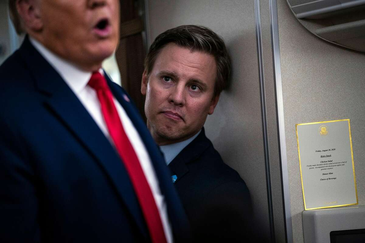 FILE -- President Donald Trump's new campaign manager, Bill Stepien, with the president aboard Air Force One following a reelection campaign rally in Londonderry, N.H., on Aug. 28, 2020. Trump's campaign has spent $800 million. (Doug Mills/The New York Times)