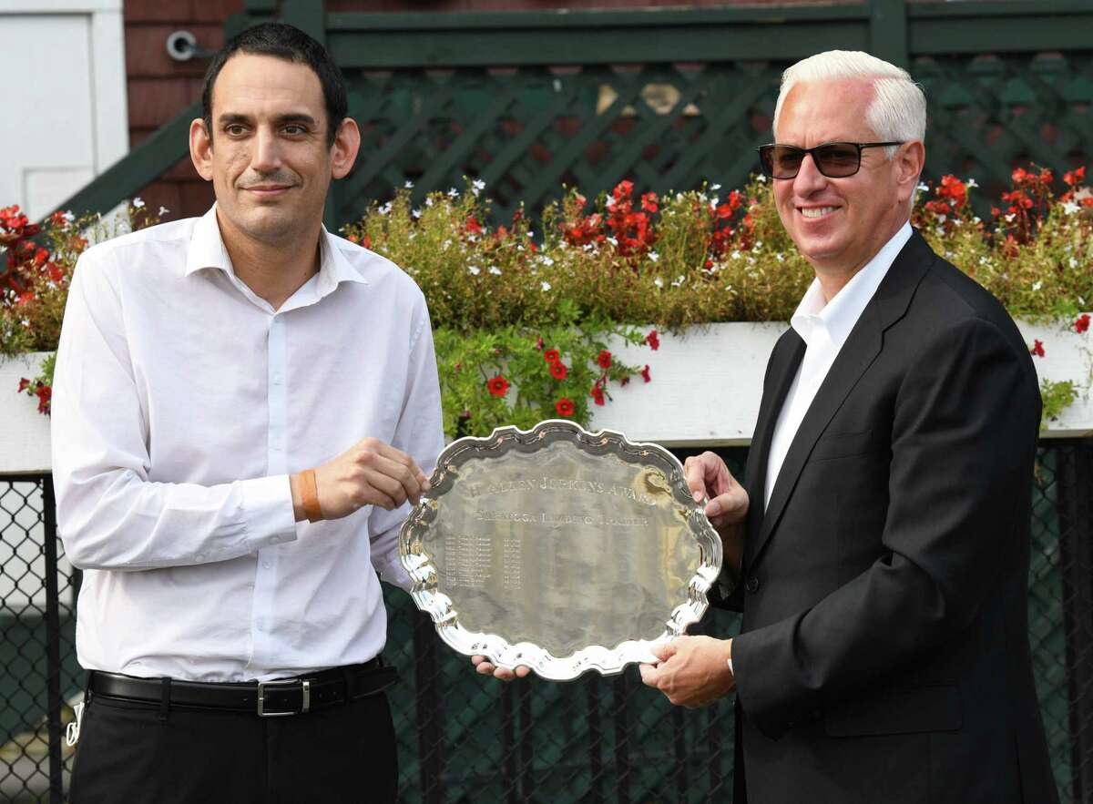 NYRA Racing Secretary Keith Doleshel presents Todd Pletcher with the H. Allen Jerkens Award as Saratoga's meeting-leading trainer. Pletcher clinched his record-extending 14th title on Monday, September 7, 2020 at Saratoga Race Course in Saratoga Springs, N.Y. (Mike Kane/Special to the Times Union)