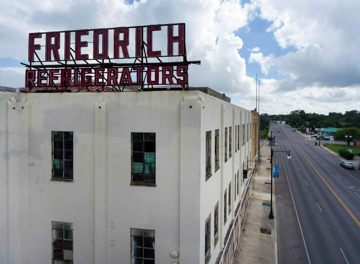 """The building at the corner of Commerce and Olive streets, with the """"Friedrich Refrigerators"""" sign, is not part of the Friedrich Lofts project."""