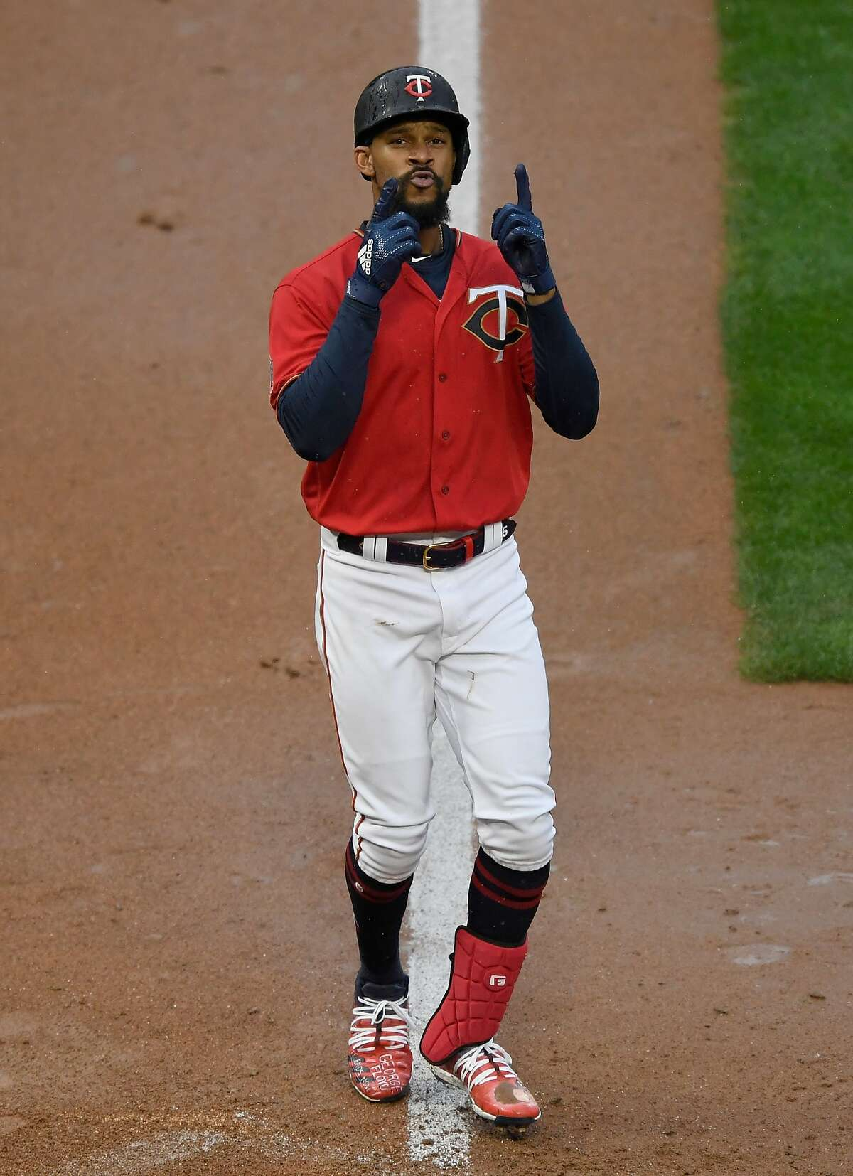 MINNEAPOLIS, MINNESOTA - SEPTEMBER 07: Byron Buxton #25 of the Minnesota Twins celebrates a solo home run against the Detroit Tigers during the eighth inning of the game at Target Field on September 7, 2020 in Minneapolis, Minnesota. The Twins defeated the Tigers 6-2. (Photo by Hannah Foslien/Getty Images)