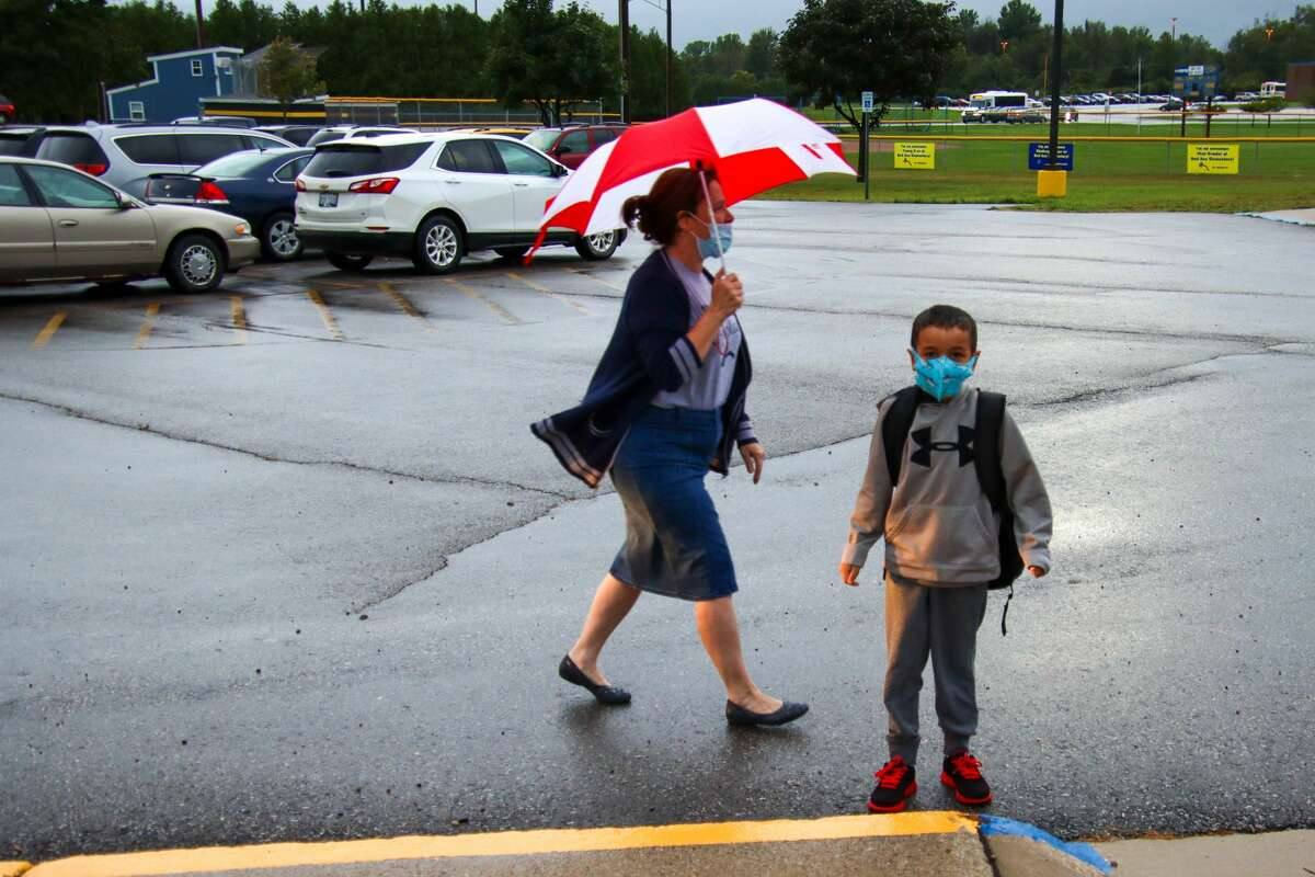 There were many smiles and a few tears as Bad Axe elementary students returned to school for the first time since March.