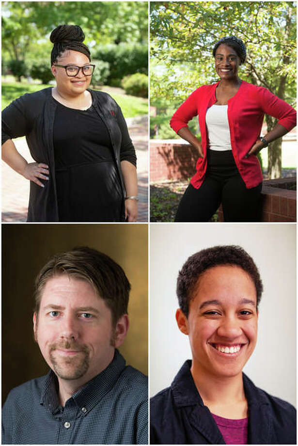 SIUE's CSPA Award winners are, from left at top, Brittany Buchanan and LaShatá Grayson, and at bottom, Andy Koch and Lexi Baysinger.