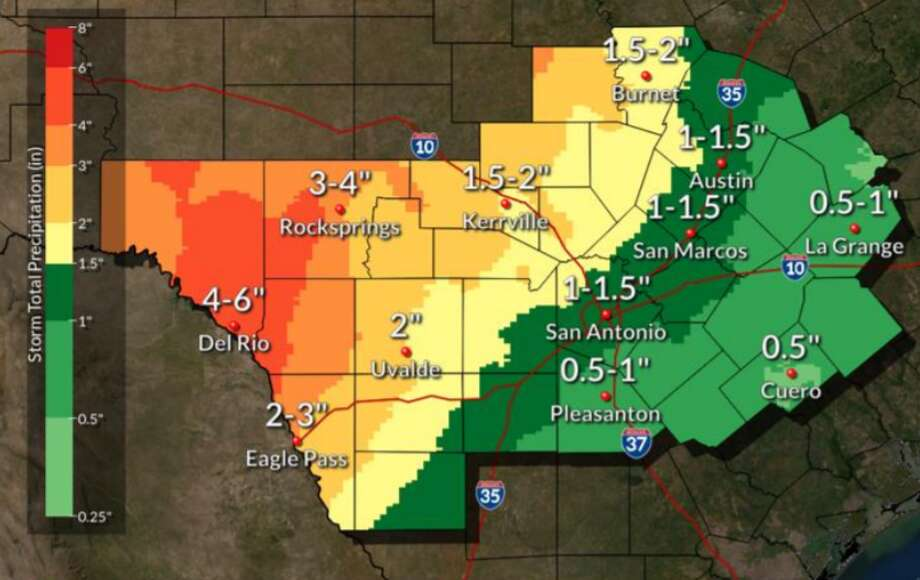 The cold front predicted to hit San Antonio on Thursday will also bring some rain with it, the National Weather Service said. Photo: National Weather Service