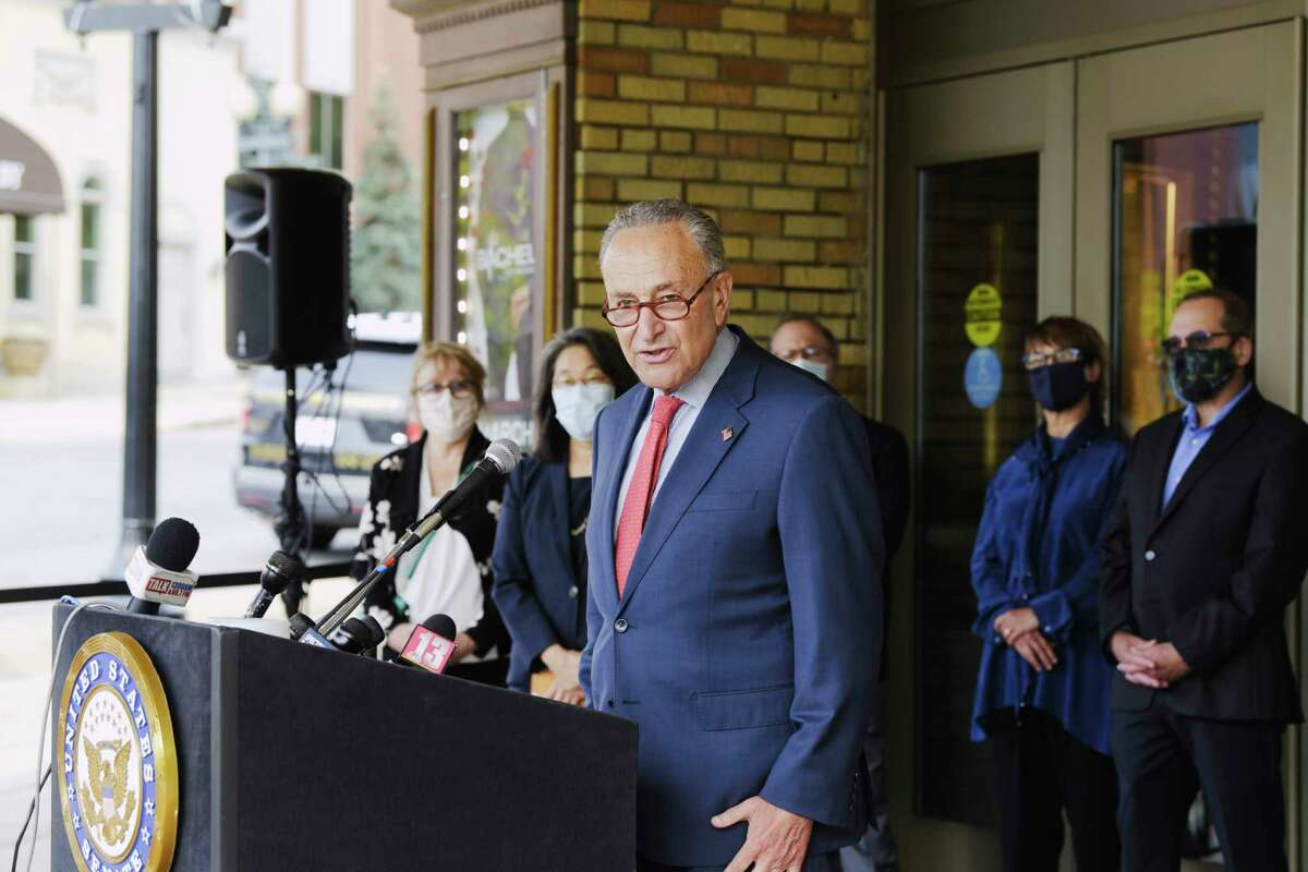 Senator Charles Schumer, surrounded by leaders of art organizations, speaks at a press conference outside the Palace Theater on Tuesday, Sept. 8, 2020, in Albany, N.Y. Senator Schumer held the press conference to push for vital support for independent live music venues through the bipartisan Save Our Stages Act. (Paul Buckowski/Times Union)