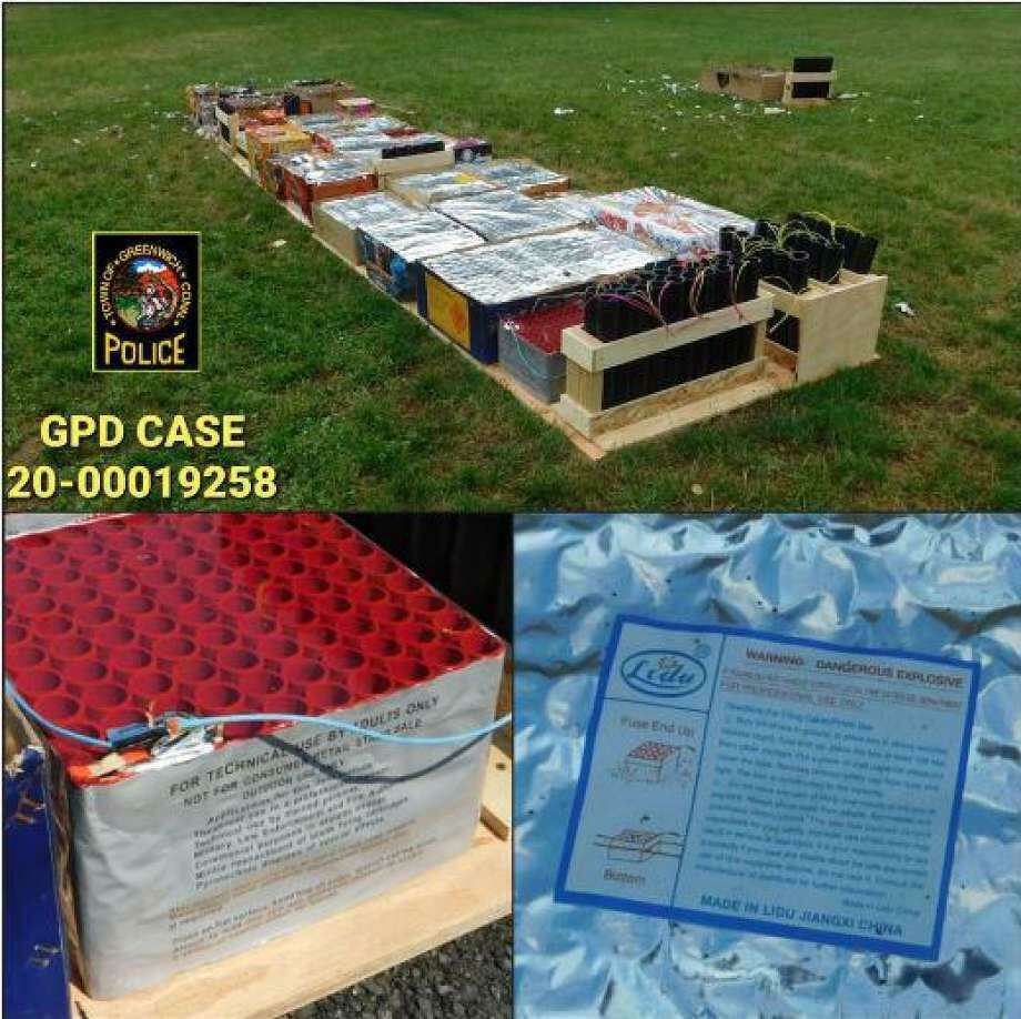 The fireworks confiscated from Bible Street Park. Photo: Contributed / Greenwich Police Department