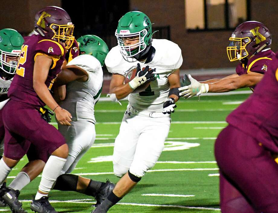 Floydada's Alonzo Ascencio cuts through the Kermit defense on his way to a 44-yard touchdown run during their non-district high school football game on Friday, Sept. 4, 2020 in Floydada at Tyer Stadium. Photo: Nathan Giese/Planview Herald