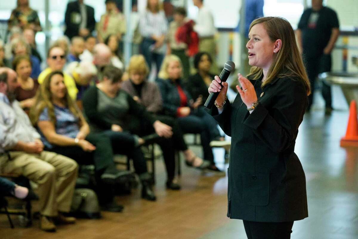 Rep. Lizzie Fletcher, D-Texas, speaks to constituents of the 7th Congressional District during a town hall meeting at Frostwood Elementary School on Saturday, March 23, 2019, in Houston.