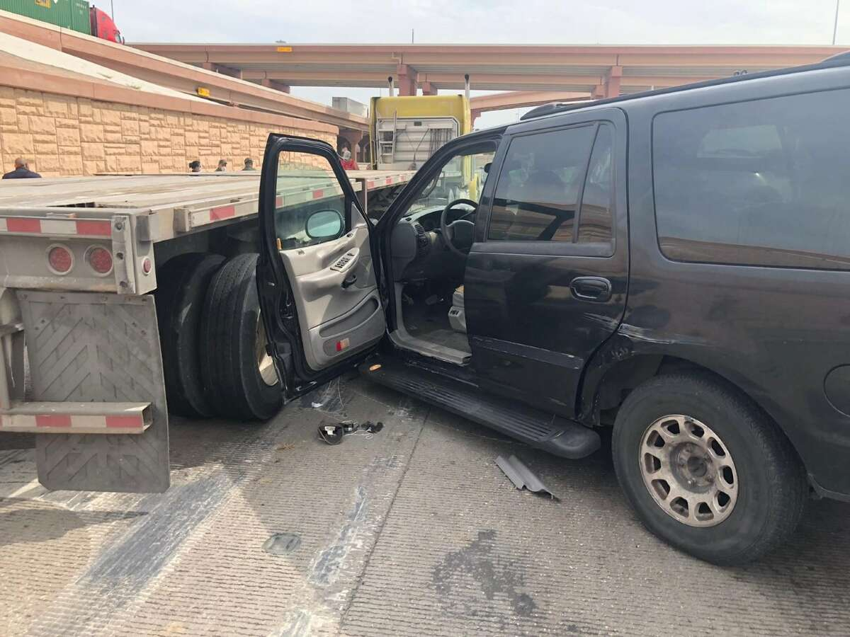 U.S. Border Patrol agents said this black sport utility vehicle was involved in a human smuggling attempt that ended with a crash in north Laredo.