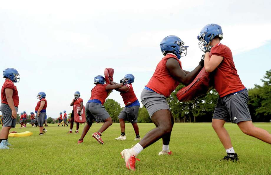 West Brook had their first practice Monday as UIL rules allowed 5A and 6A schools to begin full practice with pads allowed beginning this week. Photo taken Monday, September 7, 2020 Kim Brent/The Enterprise Photo: Kim Brent / The Enterprise / BEN