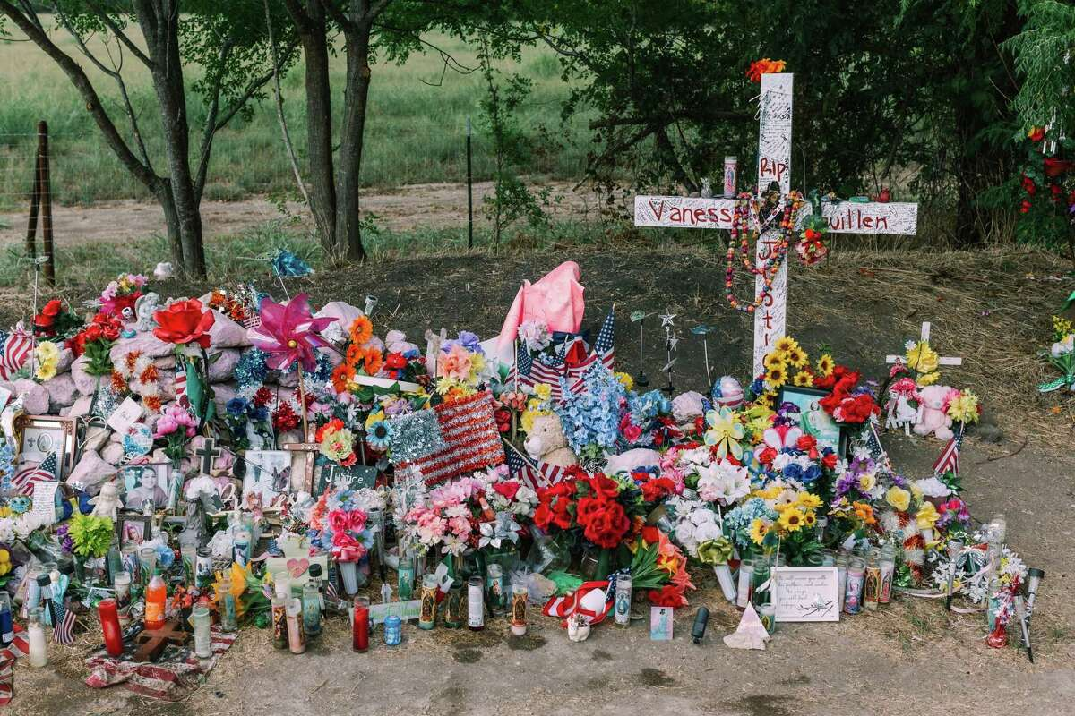 A makeshift memorial for Army Specialist Vanessa Guillén in Belton, near where her remains were found, is shown in this Aug. 10, 2020, photo. Members of the U.S. House of Representatives announced they are launching an investigation into Fort Hood after the recent deaths of soldiers, including Guillén.