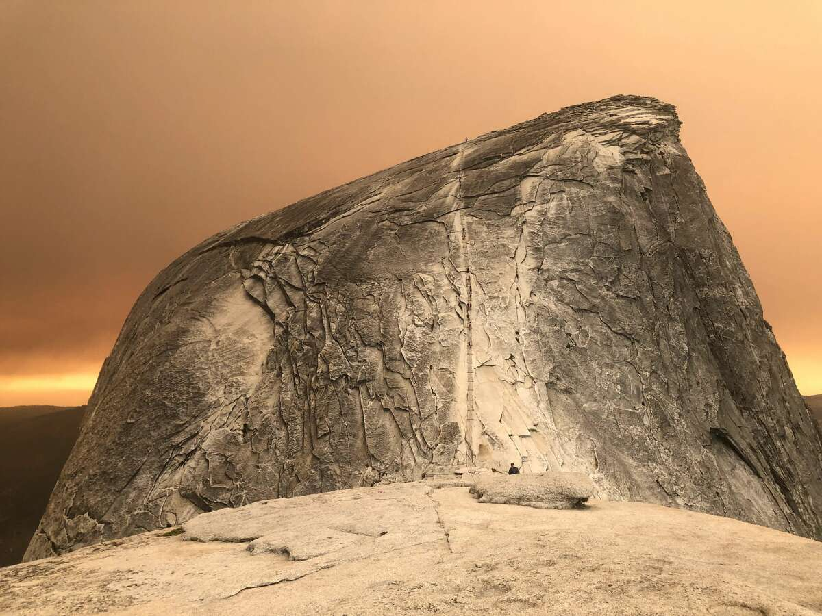 Half Dome in Yosemite, shrouded with smoke from the Creek Fire. This photo was taken at around 2 p.m. on Saturday, Sept. 5.