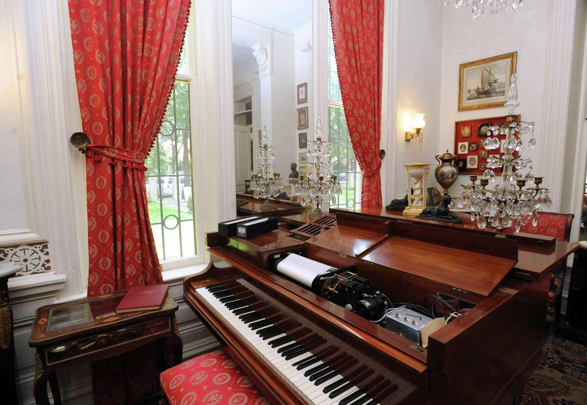 A Bechstein Welte piano uses a bellows system to play music at Villa Finale, the former home of preservationist Walter Nold Mathis. The historic Villa Finale has reopened for tours after it was closed for six months because of the novel coronavirus panademic.