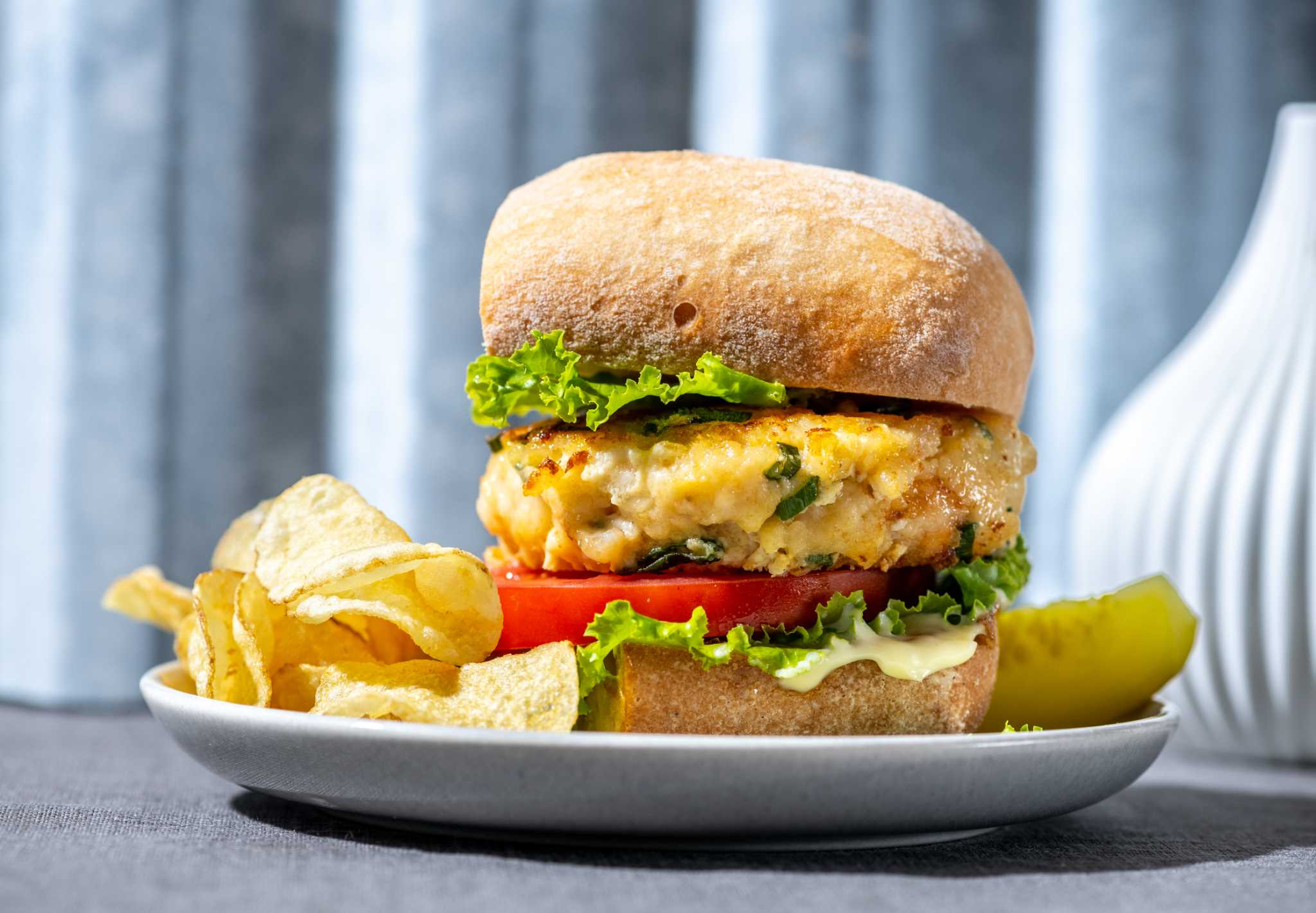 Bacon and shrimp prove to be a mighty pair in these stuffed burgers