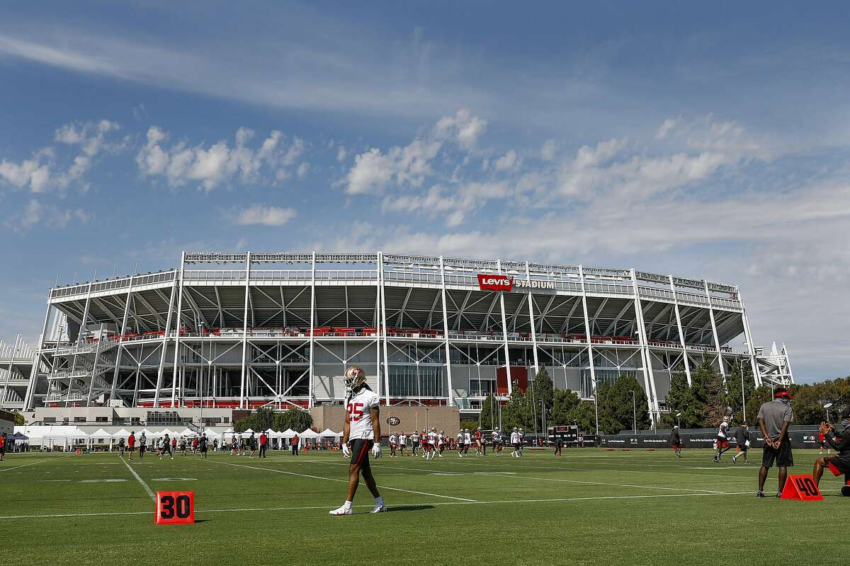 San Francisco 49ers' Richard Sherman (25) paces up and down the sideline during practice at Levi's Stadium in Santa Clara, Calif., on Sunday, Aug. 16, 2020. (Randy Vazquez/ Bay Area News Group, Pool)
