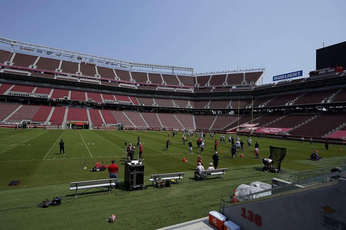 San Francisco 49ers work out at Levi's Stadium during NFL football practice in Santa Clara, Calif., Wednesday, Sept. 2, 2020. (AP Photo/Jeff Chiu, Pool)