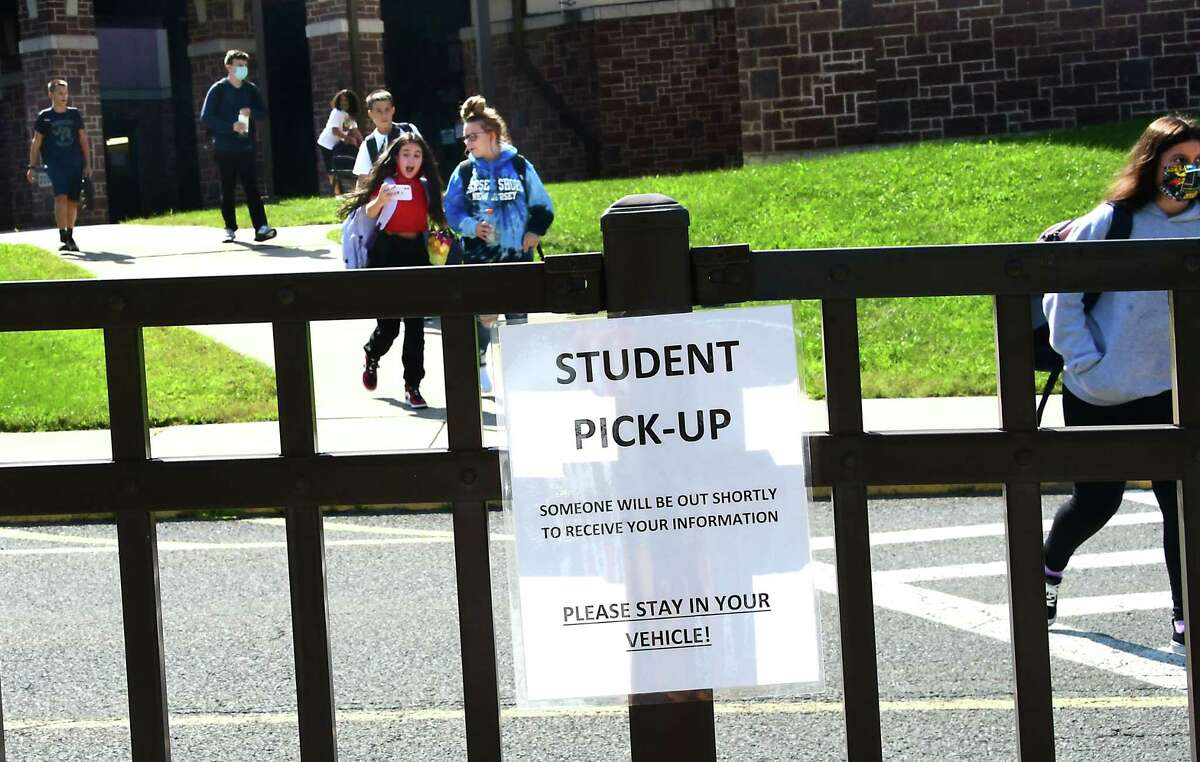 Students are seen leaving Rensselaer School District on the first day of classes on Tuesday, Sept. 8, 2020 in Rensselaer, N.Y. (Lori Van Buren/Times Union)