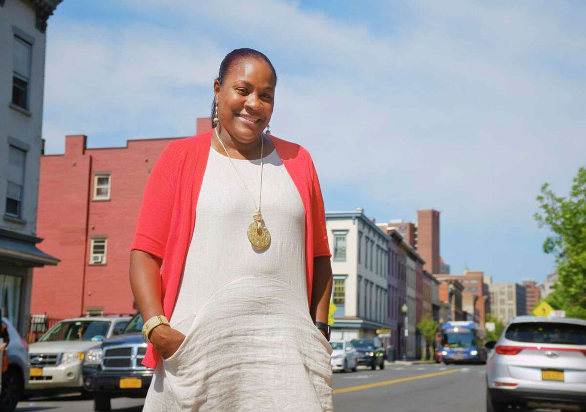 Chiquita D'Arbeau, the new Albany Housing Authority executive director, poses for a photo on South Pearl Street on Tuesday, Sept. 8, 2020, in Albany, N.Y. (Paul Buckowski/Times Union)