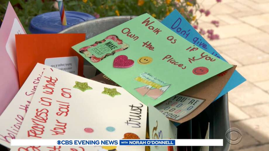 """Catharine Knight has been working on her """"kindness project"""" for the past three years. Photo: Screengrab Via CBS News"""