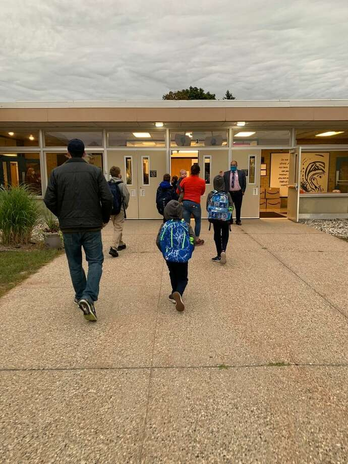 Manistee Catholic Central students return for the first day of school on Sept. 8. Photo: Courtesy Photo
