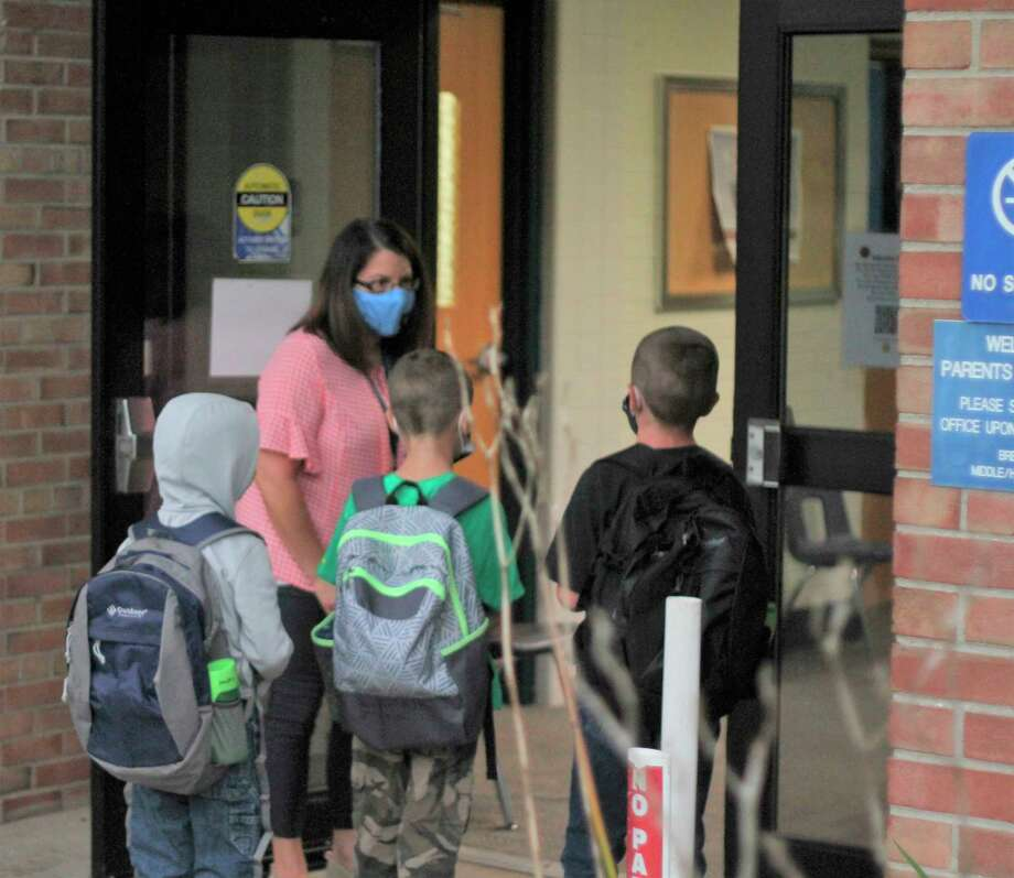 Students of Kaleva Norman Dickson Schools show up for the first day of class on Sept. 8. Oct. 7 was count day for public schools across Michigan, but with online students needing to be tracked for four weeks to be counted, final numbers will not be available until November.