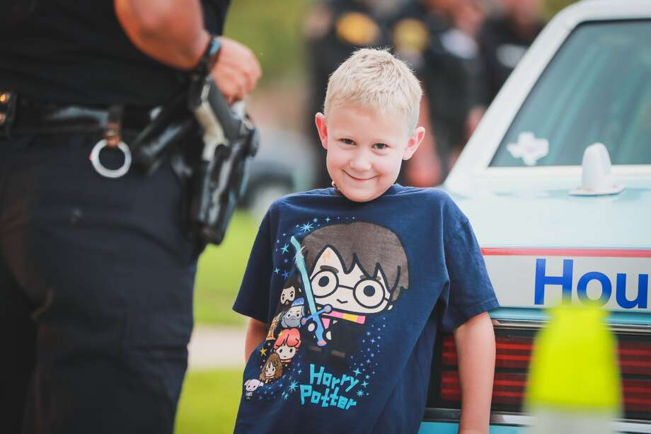 Houston police officers and other first responders send off Cooper Knox, the son of fallen HPD officer Jason Knox, on Tuesday, Sept. 8, 2020. Photo: Capt. Daniel Arizpe, PIO / Cy-Fair Fire Department
