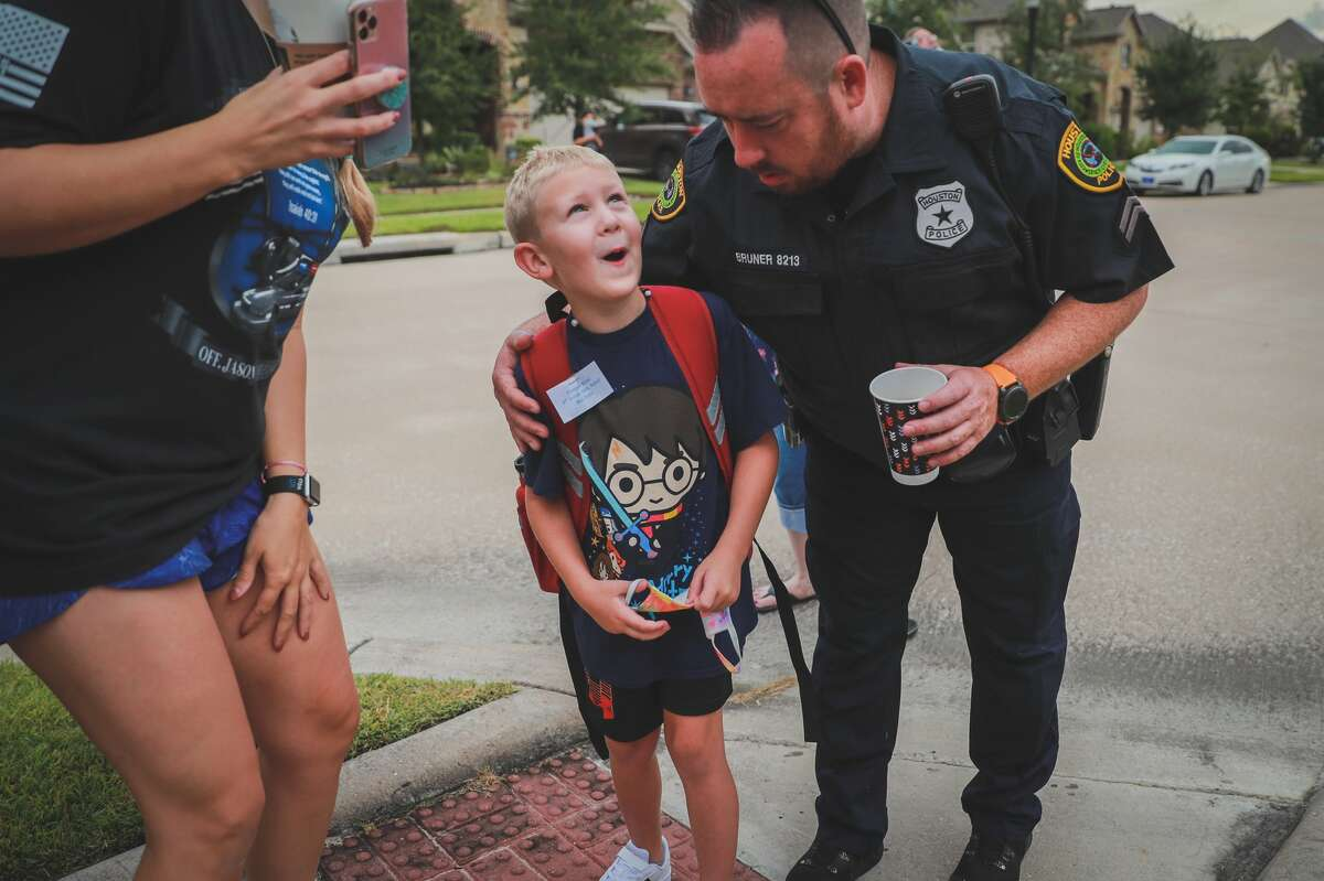 Houston police officers and other first responders send off Cooper Knox, the son of fallen HPD officer Jason Knox, on Tuesday, Sept. 8, 2020.
