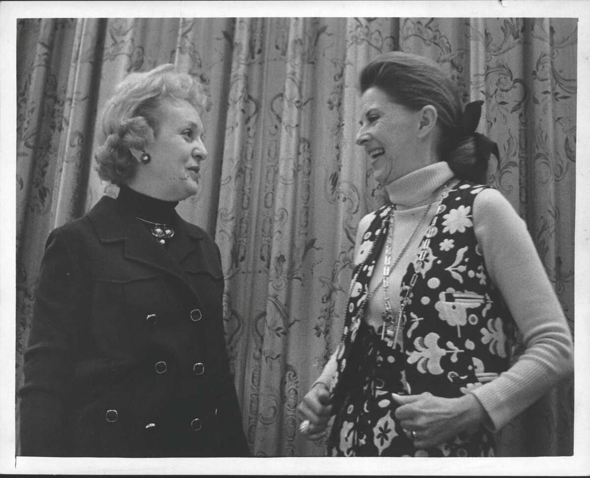 Mrs. A. James Seeley with Betty Furness, New York State Consumer Protection Board. 1971 (Roberta Smith/Times Union Archive)