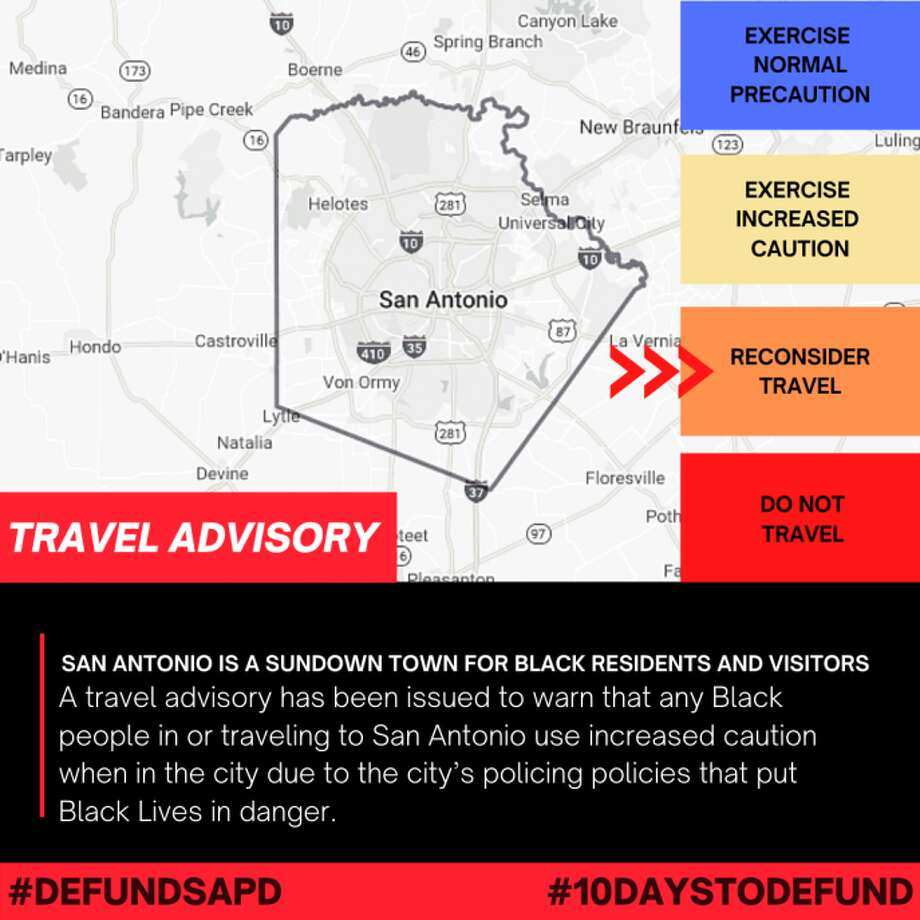 "The Defund SAPD Coalition has issued a travel warning labeling San Antonio a ""sundown town"" for Black residents and visitors. Photo: Defund SA Coalition"