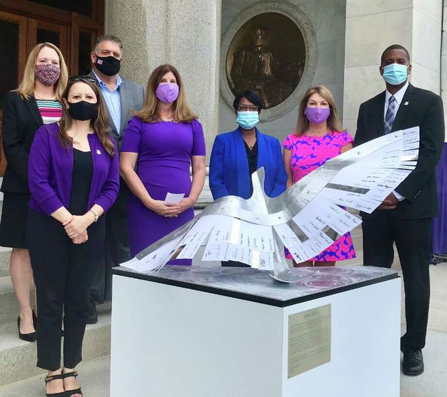 From left, state Rep. Leslee Hill (R-17), state Rep. Rosa Rebimbas (R-70), state Rep. David Rutigliano (R-123), For Cameron's Fiona Firine, Miriam Delphin-Rittmon, Commission of CT Department of Mental Health and Addiction Services, Demand ZERO's Lisa Deane, and state Sen. George Logan, (R-Ansonia). Photo: Contributed Photo