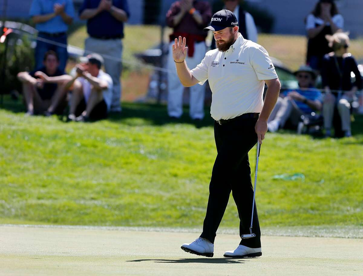 Shane Lowry acknowledged applause after his putt on the third hole Thursday April 30, 2015. PGA Tour's Match Play Championship, day two, held at Harding Park in San Francisco, Calif.