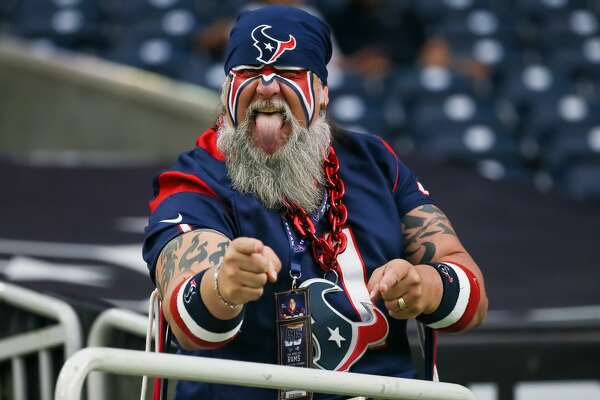 HOUSTON, TX - AUGUST 29: Houston Texans fan hams for the camera during the football game between the Los Angeles Rams and Houston Texans at NRG Stadium on August 29, 2019 in Houston, Texas.