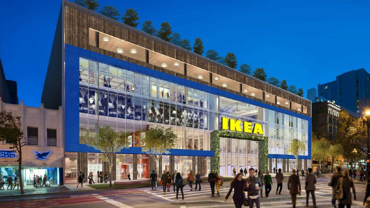 An artist rendering of IKEA's new urban mall concept in San Francisco.