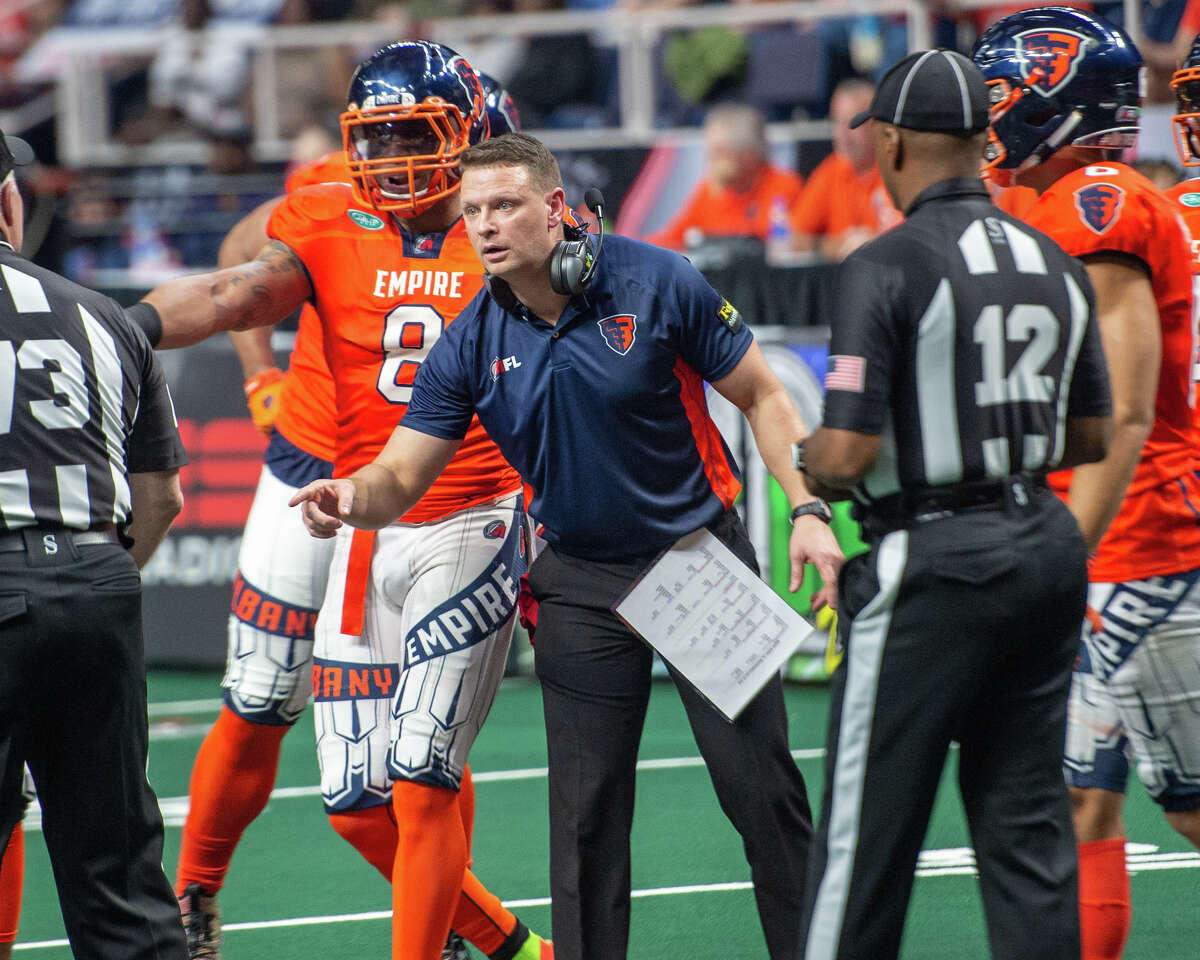 Albany Empire Head Coach Rob Keefe points out a call to the referee during an arena football game against the Washington Valor at the Times Union Center on Saturday, May 4 (Jim Franco/Special to the Times Union)